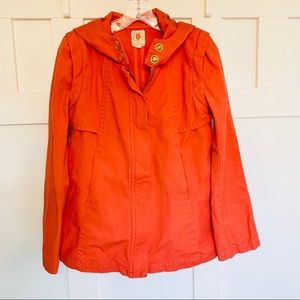 Anthro Tulle Orange Utility Jacket with Hood